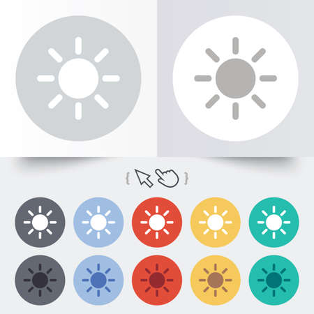 solarium: Sun sign icon. Solarium symbol. Heat button. Round 12 circle buttons. Shadow. Hand cursor pointer.