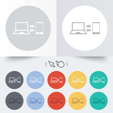 sync: Synchronization sign icon. Notebook with smartphone sync symbol. Data exchange. Round 12 circle buttons. Shadow. Hand cursor pointer.