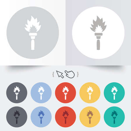 Torch flame sign icon. Fire flaming symbol. Round 12 circle buttons. Shadow. Hand cursor pointer. photo