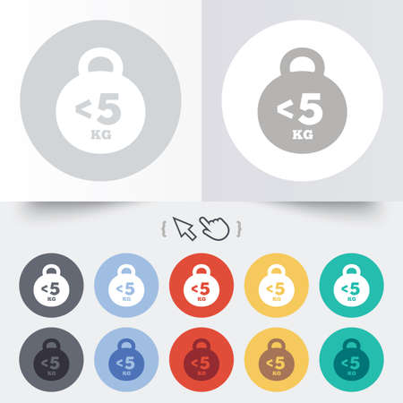 fewer: Weight sign icon. Less than 5 kilogram (kg). Sport symbol. Fitness. Round 12 circle buttons. Shadow. Hand cursor pointer.