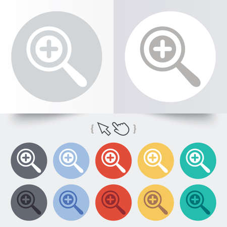 Magnifier glass sign icon. Zoom tool button. Navigation search symbol. Round 12 circle buttons. Shadow. Hand cursor pointer. photo