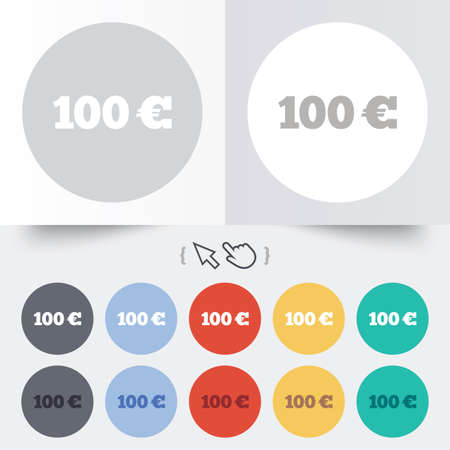 100 Euro sign icon. EUR currency symbol. Money label. Round 12 circle buttons. Shadow. Hand cursor pointer. photo