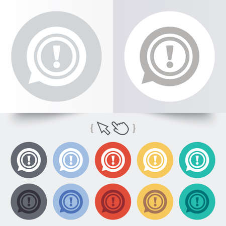 Exclamation mark sign icon. Attention speech bubble symbol. Round 12 circle buttons. Shadow. Hand cursor pointer. photo