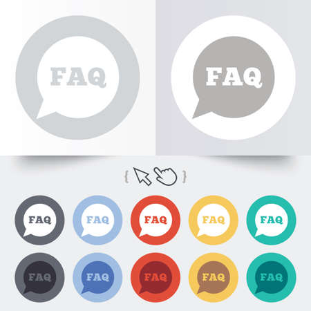 FAQ information sign icon. Help speech bubble symbol. Round 12 circle buttons. Shadow. Hand cursor pointer. photo