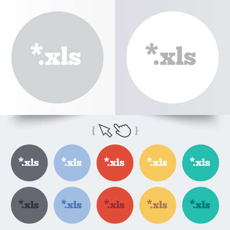 excel: Excel file document icon. Download xls button. XLS file extension symbol. Round 12 circle buttons. Shadow. Hand cursor pointer. Stock Photo