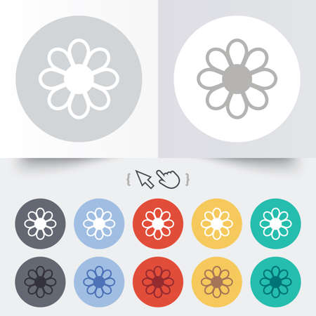 Flower with petals sign icon. Blossom symbol. Round 12 circle buttons. Shadow. Hand cursor pointer. photo