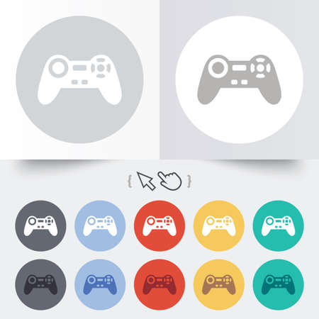 Joystick sign icon. Video game symbol. Round 12 circle buttons. Shadow. Hand cursor pointer. photo