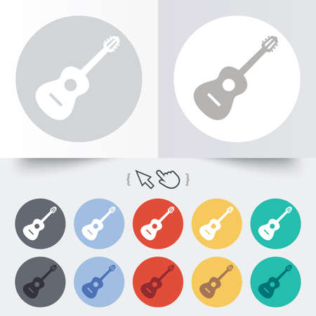 Acoustic guitar sign icon. Music symbol. Round 12 circle buttons. Shadow. Hand cursor pointer. photo