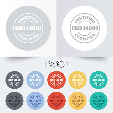 ISO 14001 certified sign icon. Certification stamp. Round 12 circle buttons. Shadow. Hand cursor pointer. photo
