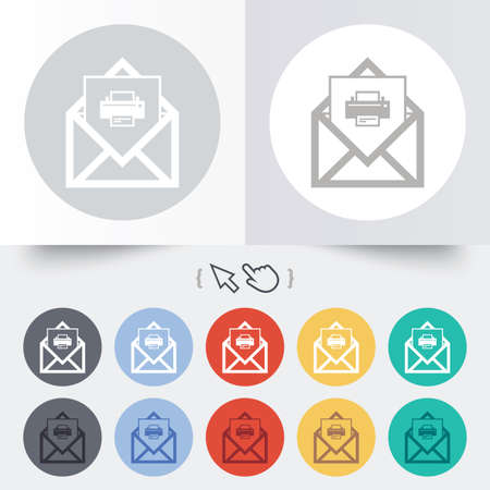 Mail print icon. Envelope symbol. Message sign. Mail navigation button. Round 12 circle buttons. Shadow. Hand cursor pointer. photo