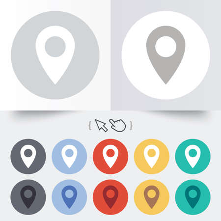 Map pointer icon. GPS location symbol. Round 12 circle buttons. Shadow. Hand cursor pointer. photo