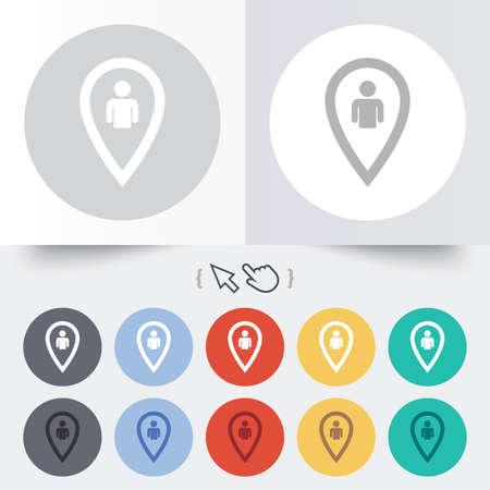 Map pointer user sign icon. Person location marker symbol. Round 12 circle buttons. Shadow. Hand cursor pointer. photo