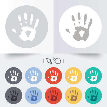 Hand print sign icon. Stop symbol. Round 12 circle buttons. Shadow. Hand cursor pointer. photo