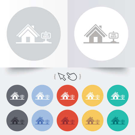 Home sign icon. House for sale. Broker symbol. Round 12 circle buttons. Shadow. Hand cursor pointer. photo