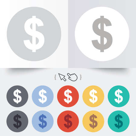 usd: Dollars sign icon. USD currency symbol. Money label. Round 12 circle buttons. Shadow. Hand cursor pointer.