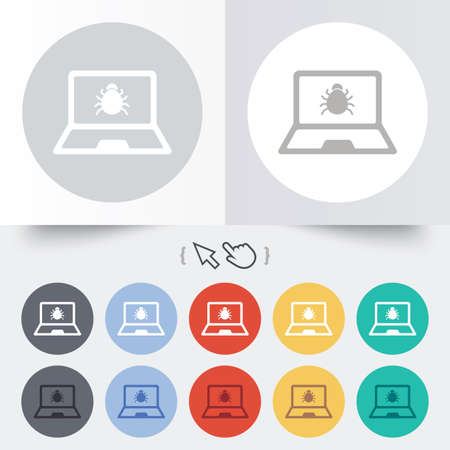 Laptop virus sign icon. Notebook software bug symbol. Round 12 circle buttons. Shadow. Hand cursor pointer.