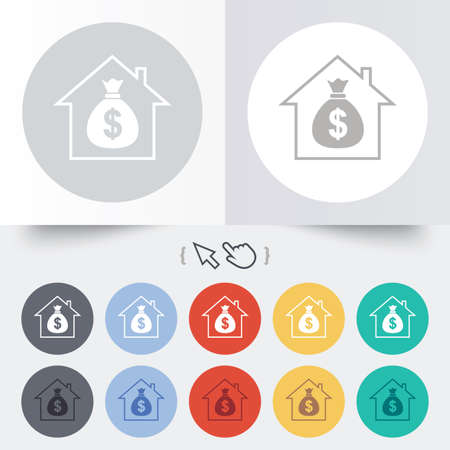 Mortgage sign icon. Real estate symbol. Bank loans. Round 12 circle buttons. Shadow. Hand cursor pointer. photo