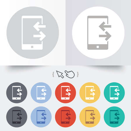 outcoming: Incoming and outcoming calls sign icon. Smartphone symbol. Round 12 circle buttons. Shadow. Hand cursor pointer.