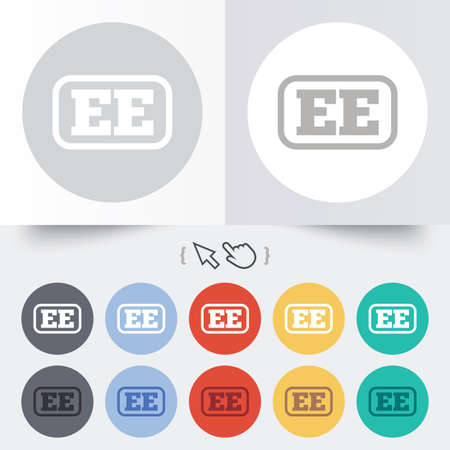 ee: Estonian language sign icon. EE translation symbol with frame. Round 12 circle buttons. Shadow. Hand cursor pointer.