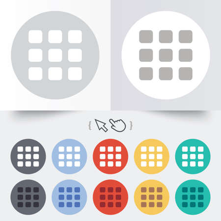 thumbnails: Thumbnails grid sign icon. Gallery view option symbol. Round 12 circle buttons. Shadow. Hand cursor pointer.