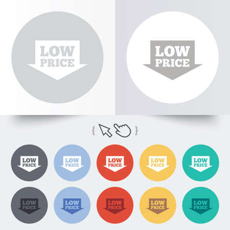 advantageous: Low price arrow sign icon. Special offer symbol. Round 12 circle buttons. Shadow. Hand cursor pointer.