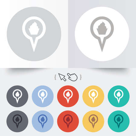 Map pointer food sign icon. Restaurant location marker symbol. Round 12 circle buttons. Shadow. Hand cursor pointer. photo