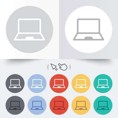 Laptop sign icon. Notebook pc symbol. Round 12 circle buttons. Shadow. Hand cursor pointer.