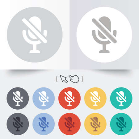 No Microphone sign icon. Speaker symbol. Round 12 circle buttons. Shadow. Hand cursor pointer. photo