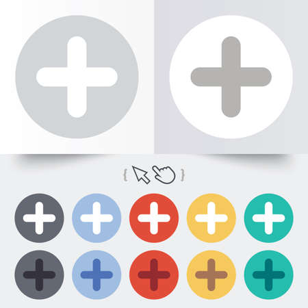 Plus sign icon. Positive symbol. Zoom in. Round 12 circle buttons. Shadow. Hand cursor pointer. photo