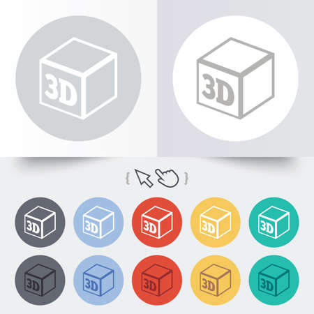 3D Print sign icon. 3d cube Printing symbol. Additive manufacturing. Round 12 circle buttons. Shadow. Hand cursor pointer. photo