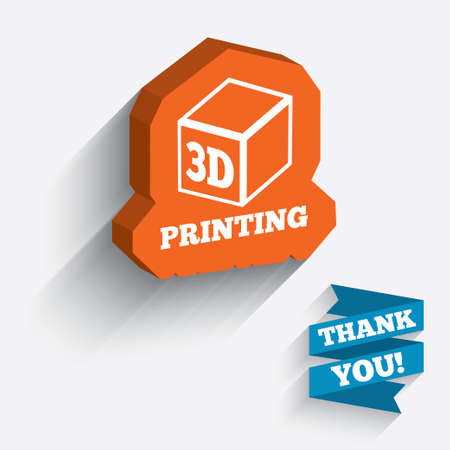additive manufacturing: 3D Print sign icon. 3d cube Printing symbol. Additive manufacturing. White icon on orange 3D piece of wall. Carved in stone with long flat shadow. Stock Photo