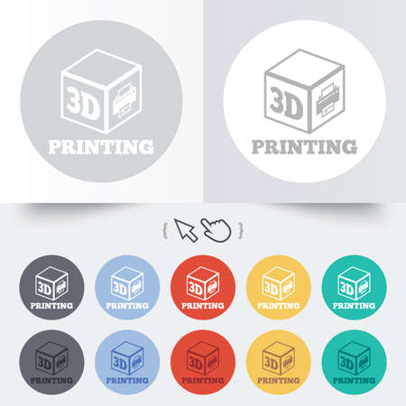 additive manufacturing: 3D Print sign icon. 3d cube Printing symbol. Additive manufacturing. Round 12 circle buttons. Shadow. Hand cursor pointer.