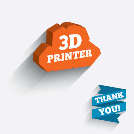 additive manufacturing: 3D Print sign icon. 3d Printing symbol. Additive manufacturing. White icon on orange 3D piece of wall. Carved in stone with long flat shadow. Stock Photo
