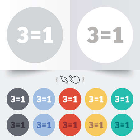 equals: Three for one sign icon. Take three pay for one sale button. 3 equals 1. Round 12 circle buttons. Shadow. Hand cursor pointer.