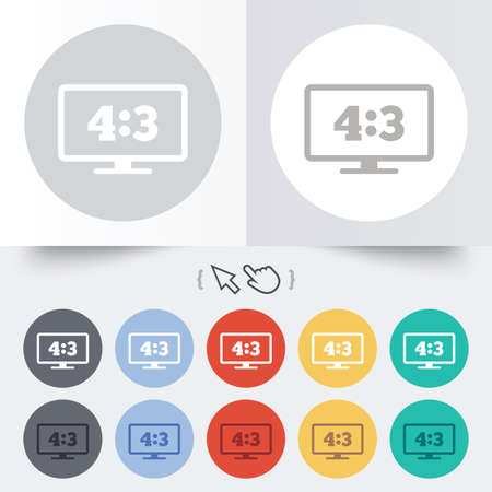 Aspect ratio 4:3 widescreen tv sign icon. Monitor symbol. Round 12 circle buttons. Shadow. Hand cursor pointer. photo