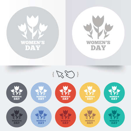8 March Womens Day sign icon. Flowers symbol. Round 12 circle buttons. Shadow. Hand cursor pointer. photo