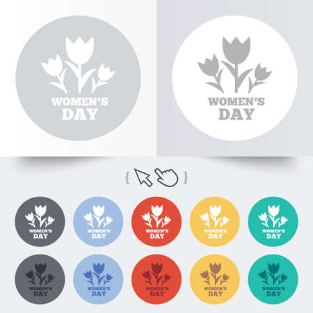 8   12: 8 March Womens Day sign icon. Flowers symbol. Round 12 circle buttons. Shadow. Hand cursor pointer. Stock Photo