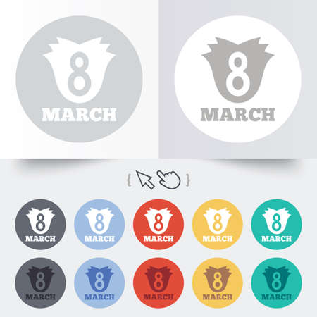 8 March Womens Day sign icon. Flower symbol. Round 12 circle buttons. Shadow. Hand cursor pointer. photo
