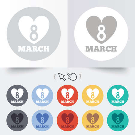 8   12: 8 March Womens Day sign icon. Heart symbol. Round 12 circle buttons. Shadow. Hand cursor pointer.