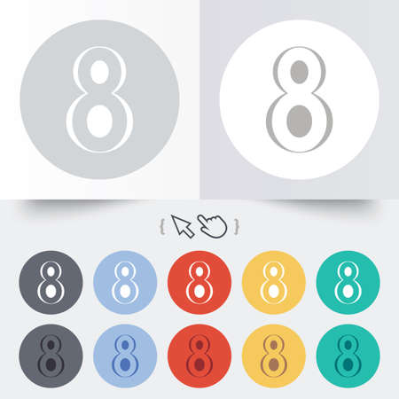 8   12: 8 March Womens Day sign icon. Eight symbol. Round 12 circle buttons. Shadow. Hand cursor pointer. Stock Photo