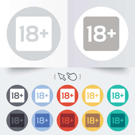 18 years old: 18 years old sign. Adults content only icon. Round 12 circle buttons. Shadow. Hand cursor pointer.