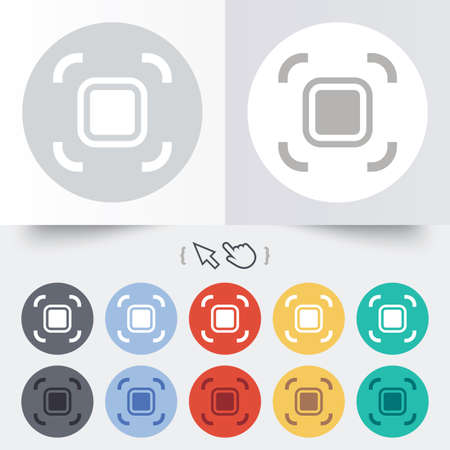 autofocus: Autofocus zone sign icon. Photo camera settings. Round 12 circle buttons. Shadow. Hand cursor pointer.