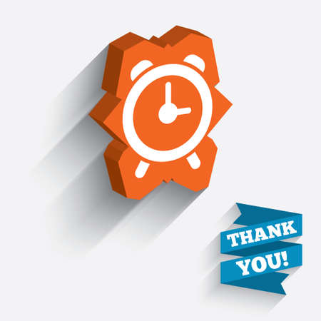 wake up call: Alarm clock sign icon. Wake up alarm symbol. White icon on orange 3D piece of wall. Carved in stone with long flat shadow.