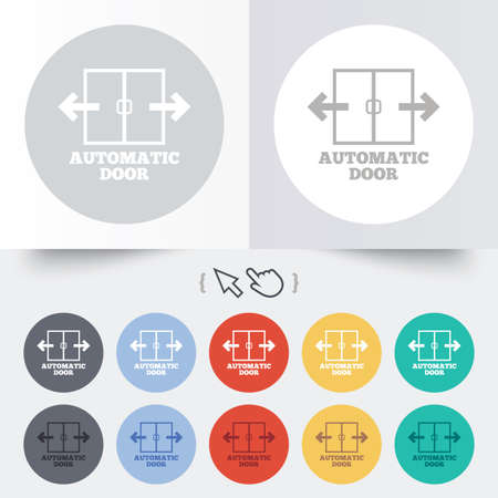automatic doors: Automatic door sign icon. Auto open symbol. Round 12 circle buttons. Shadow. Hand cursor pointer. Stock Photo