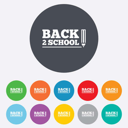 Back to school sign icon. Back 2 school pencil symbol. Round colourful 11 buttons. photo
