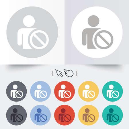 blacklist: Blacklist sign icon. User not allowed symbol. Round 12 circle buttons. Shadow. Hand cursor pointer.