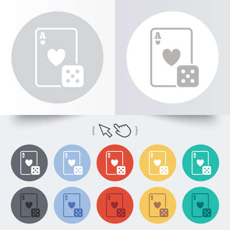 Casino sign icon. Playing card with dice symbol. Round 12 circle buttons. Shadow. Hand cursor pointer. photo