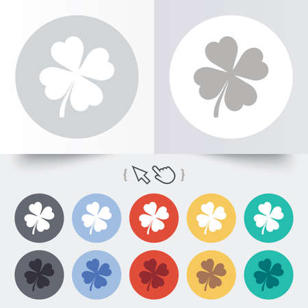 Clover with four leaves sign icon. Saint Patrick symbol. Round 12 circle buttons. Shadow. Hand cursor pointer. photo