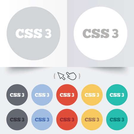 css3: CSS3 sign icon. Cascading Style Sheets symbol. Round 12 circle buttons. Shadow. Hand cursor pointer.