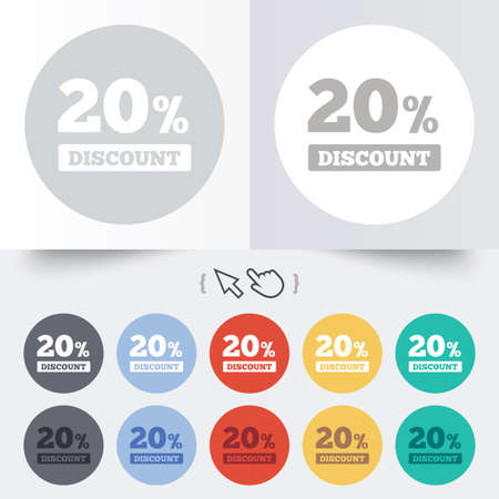 20 percent discount sign icon. Sale symbol. Special offer label. Round 12 circle buttons. Shadow. Hand cursor pointer. photo